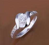 (1 PC) Süße Frauen Silber Kupfer Ring (Größe 8 #)