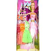Poupée Barbie garde-robe avec des robes et accessoires Quatre