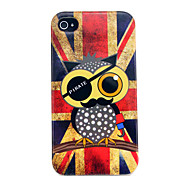 Vintage Union Flag Owls Glossy TPU Soft Cover Case for iphone 4S/4