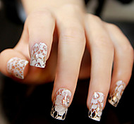 12PCS White Lace Transparent with Rhinestone Glitter Wedding Nail Stickers Flower Pattern