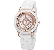 Mujeres de oro rosa de Rolling Diamante dial redondo imitación cerámica de la venda del análogo de cuarzo reloj de pulsera (Grande)