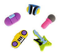 5 Pack Rubber Musical Instruments Shaped Erasers