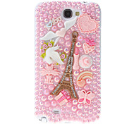 Pearl and Embossed Towers Pattern Hard Back Cover Case with Glue for Samsung Galaxy Note2 N7100