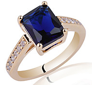 Women's Classic Gold Plated Sterling Silver Party Ring With 7X9Mm Rectangle Zircon