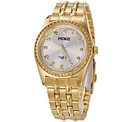 Men's Diamante Gold Round Dial Steel Band Quartz Analog Wrist Watch (Assorted Colors)