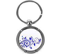 Personalized Engraved Gift Creative Blue and White Vine Pattern Keychain