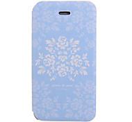 Patrón de flores Tierra Azul PU Leather Case cuerpo para el iPhone 4/4S