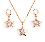 Fashion Gold-Legierung (Halskette und Ohrringe) Edelstein-Schmuck-Sets (Gold)