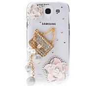 Jewels and Camellia&Bag Pattern Transparent Hard Back Cover Case for Samsung Galaxy S4 I9500