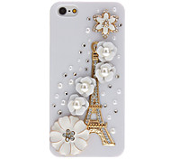 Golden Eiffel Tower and Pearls Flowers with Diamond Covered Hard Case for iPhone 5/5S