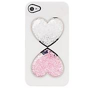 Doppel-Herz-Muster Perlen Innerhalb zurück Fall für iPhone 4/4S