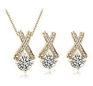 Cross Shape Necklace Earrings Jewelry Set