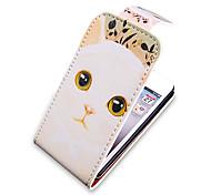 Cartoon Cat Pattern Up-Down umdrehen PU-Leder Voll Bady Hülle für das iPhone 4/4S