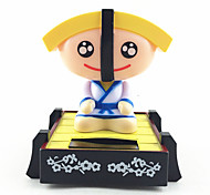 Solar Powered Sushi Chef Shaking Head Toy Yellow Sushi Head