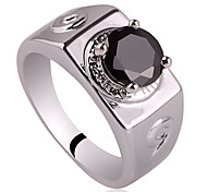 9-Shape Carve On Banda Uomini 925 Sterling Silver Ring con zircone