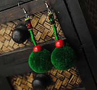 Ethnic (Fur Ball) Green Fabric Drop Earrings (1 Pair)