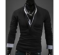 Los hombres de Corea del estilo delgado de dos piezas de igual Long Sleeve T-Shirt