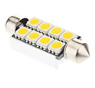 Festone 8x5050SMD 60-100LM 3000K Warm White Light Bulb LED per auto (12V, 2 pz)