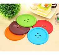 Buttons Pattern Silicone Cup Mat (1 Set 4 PCS Random Color)