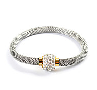 Silver Stainless Steel Bead Rhinestone Snake Chain Bracelet