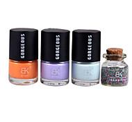 3PCS Candy Color Nail Polish with 1 Bottle Caviar Decoration Nail Art Set No.1