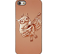 Owl Playing Guitar Pattern PC Hard Case with 3 Packed HD Screen Protectors for iPhone 5/5S