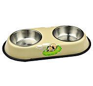 Double Stainless Steel Bowls for Pets Dogs (Assorted Colors)