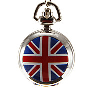 Women's UK Flag Pattern Silver Alloy Quartz Analog Necklace Watch