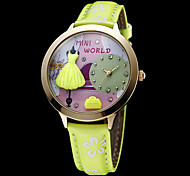 Women's Skirt Decor Gold Case Green Leather Band Quartz Analog Wrist Watch Cool Watches Unique Watches