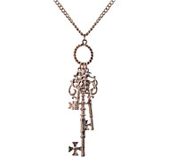 Lureme®Vintage Key-Shape Pendant Long Necklace