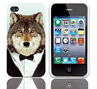 Lobo de un patrón de juego duro caso con protectores 3-Pack de pantalla para iPhone 4/4S