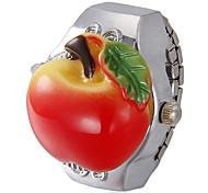 Unisex Apple Pattern Dial Alloy Quartz Analog Ring Watch