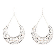 Silver C Style Round Drop Earrings