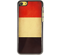 Vintage Design Belgian Flag Aluminum Hard Case with 3 Packed HD Screen Protectors for iPhone 5C