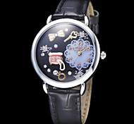 Women's Jewelry Decor Black Leather Band Quartz Analog Wrist Watch