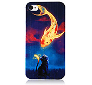 Vivid Carp and Cat Pattern Transparent Frame Terug Case voor iPhone 4/4S