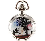 Women's Swing Children Pattern Silver Alloy Quartz Analog Necklace Watch