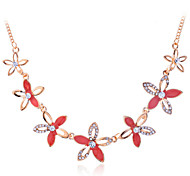 Korean Fashion Drill Five-Petaled Flowers Gold Plating Necklace