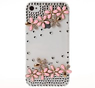 Caso DIY suerte del patrón de flor de la joya cubierto para iPhone 4/4S
