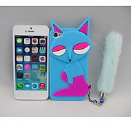 Silica Gel Blue Fox Pattern Case for phone 4/4s