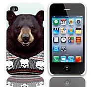 Patrón del oso simpático estuche rígido con paquete de 3 protectores de pantalla para iPhone 4/4S
