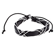 Punk 16Cm Women'S Black And White  Leather Bracelet(Black And White)(1 Pc)