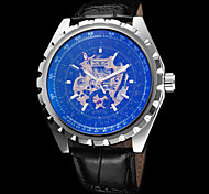 Men's Auto-Mechanical Gold Skeleton Black Leather Band Wrist Watch