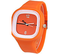 Women's Simple Square Dial Silicone Band Quartz Analog Wrist Watch (Assorted Color)
