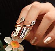 Europe Style  Crystals Snake Pattern Fingernails Ring