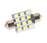 Festoon 12 LED 6000K Cool White Light Bulb LED para carro (12V)