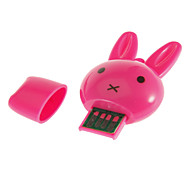 Mini USB Memory Card Reader with Rabit Head Shaped (Pink/Rose/Green)