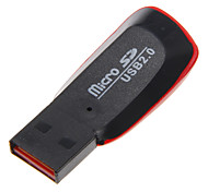 Mini USB 2.0 Memory Card Reader (Black+Red)