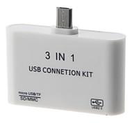 Kit de la conexión del lector de tarjetas de OTG 3-en-1 Smart (Blanco)