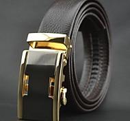 Men's Top Grade Genuine Cowskin Leather Automatic Buckle Belt Brown